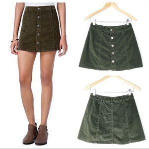 CELEBRITY PINK Olive Green Corduroy Mini Skirt Sm